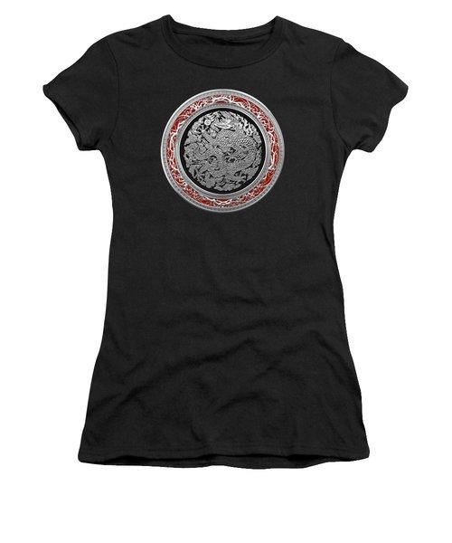 Sliver Chinese Dragon On Black Velvet Women's T-Shirt (Junior Cut) by Serge Averbukh