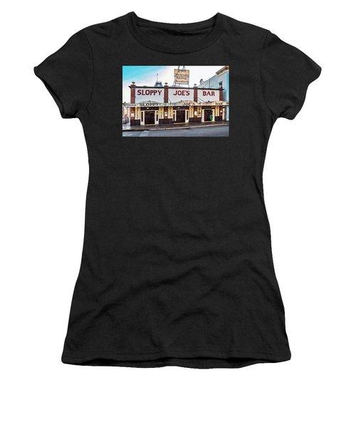 Women's T-Shirt (Athletic Fit) featuring the photograph Sloppy Joe's Bar - Key West by Bob Slitzan