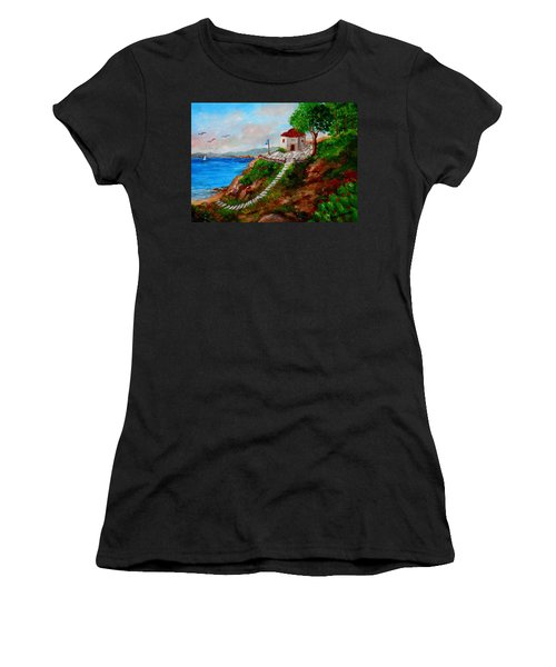 Small Church In Greece Women's T-Shirt (Athletic Fit)