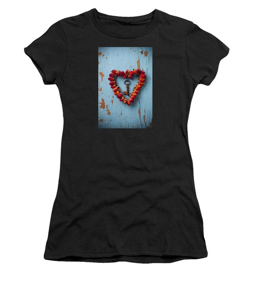 Small Rose Heart Wreath With Key Women's T-Shirt (Athletic Fit)