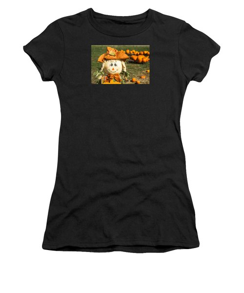 Smiling Scarecrow With Pumpkins Women's T-Shirt