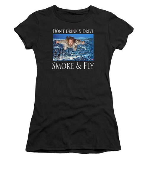Women's T-Shirt (Junior Cut) featuring the painting Smoke And Fly by Tom Roderick
