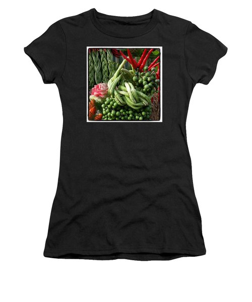 Women's T-Shirt featuring the photograph Snake Beans. At The Surin Elephant by Mr Photojimsf
