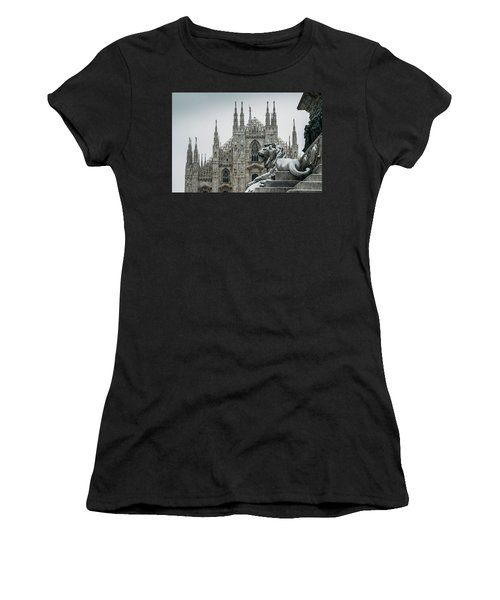 Snow At Milan's Duomo Cathedral  Women's T-Shirt