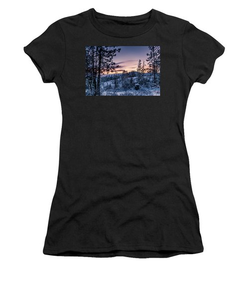 Snow Coved Trees And Sunset Women's T-Shirt