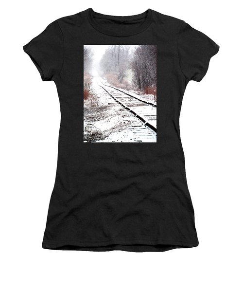 Snow Covered Wisconsin Railroad Tracks Women's T-Shirt (Athletic Fit)