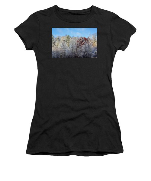 Women's T-Shirt featuring the photograph Snow Dust by Randy Bayne