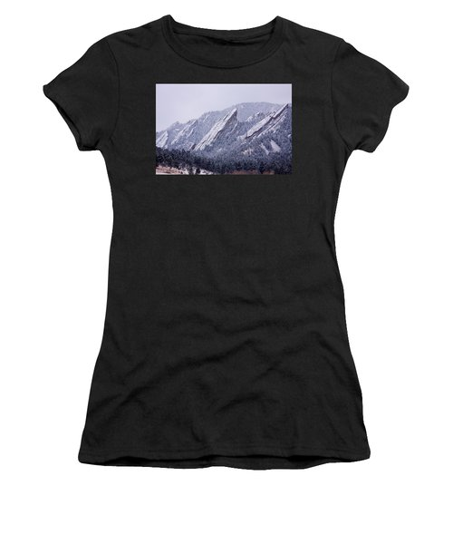 Snow Dusted Flatirons Boulder Colorado Women's T-Shirt