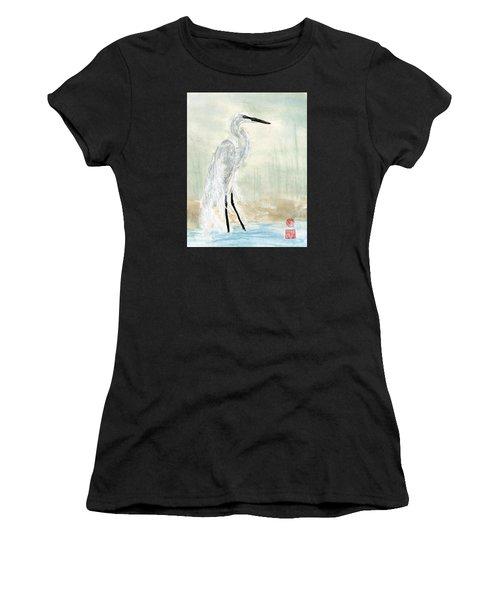 Snow Egret Women's T-Shirt (Athletic Fit)