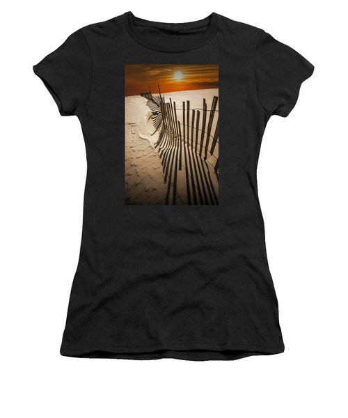 Snow Fence At Sunset Women's T-Shirt