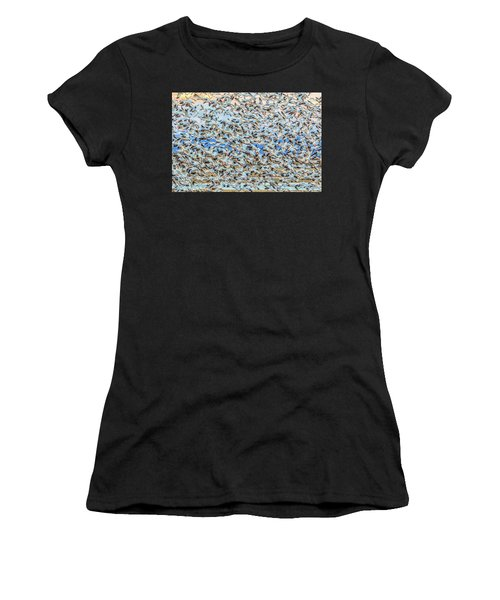 Snow Geese Fly Off Women's T-Shirt (Athletic Fit)