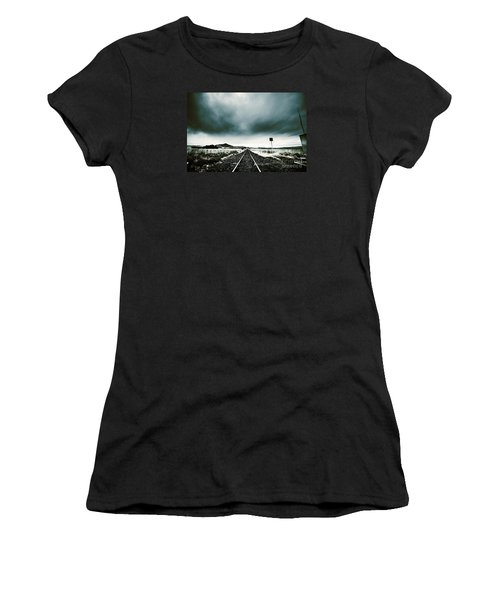 Women's T-Shirt (Athletic Fit) featuring the photograph Snow Railway by Jorgo Photography - Wall Art Gallery