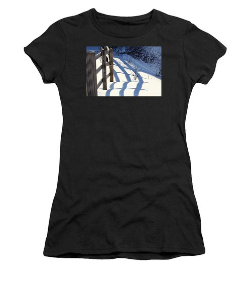Women's T-Shirt featuring the photograph Snow, Sun And Shadows by Tatiana Travelways