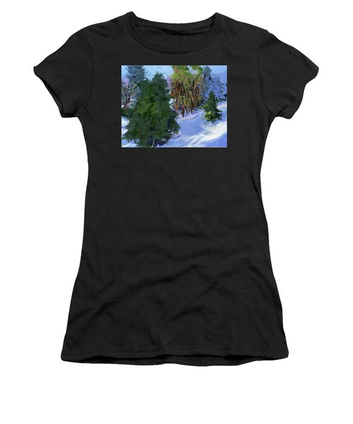 Snow Trees Women's T-Shirt (Athletic Fit)