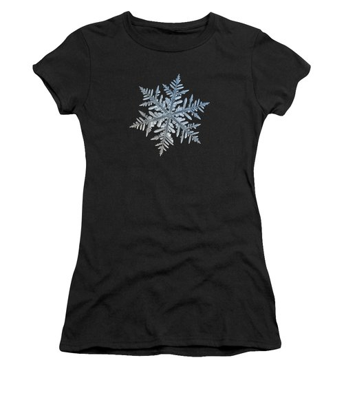 Women's T-Shirt (Athletic Fit) featuring the photograph Snowflake Photo - Silverware by Alexey Kljatov