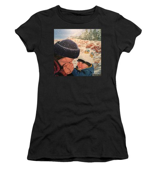 Snowy Day With My Dad Women's T-Shirt (Athletic Fit)