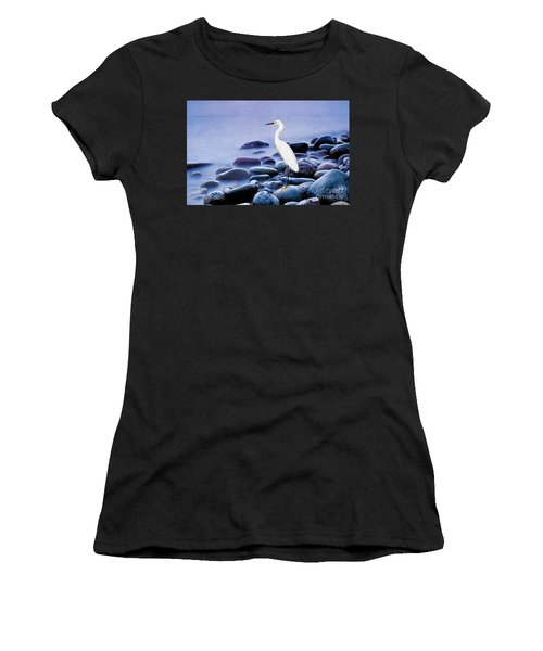 Snowy Egret On The Rocks Women's T-Shirt