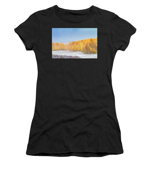 Snowy Fall Morning In Colorado Mountains Women's T-Shirt