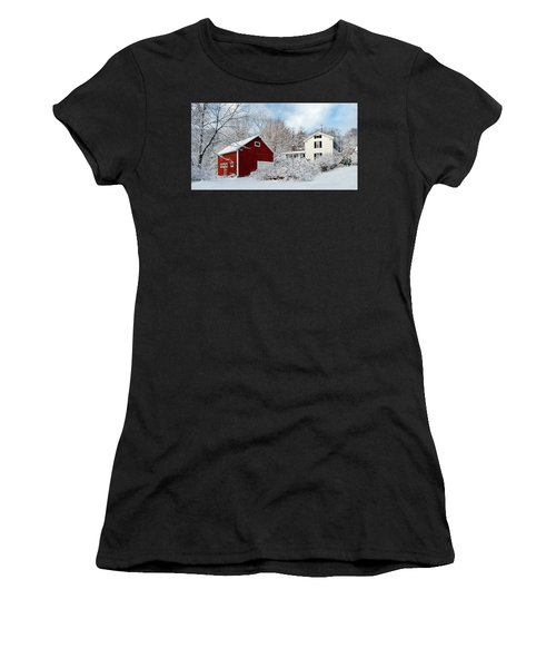 Snowy Homestead With Red Barn Women's T-Shirt