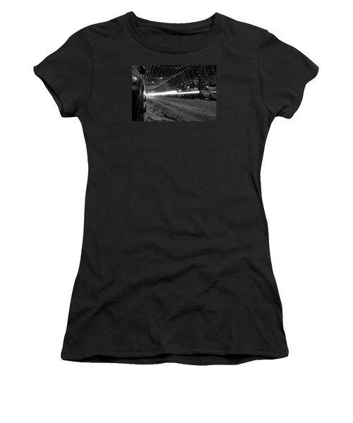 Snowy Night Light Trails Women's T-Shirt (Athletic Fit)