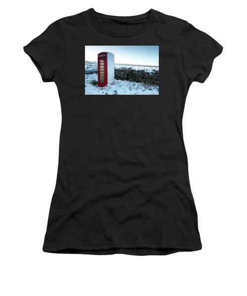 Snowy Telephone Box Women's T-Shirt (Junior Cut) by Helen Northcott