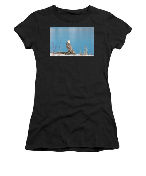 Snowy Watching A Plane Women's T-Shirt