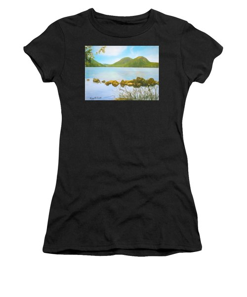 Soft Art Photograph Jordan Pond Acadia Nat. Park Maine Women's T-Shirt (Athletic Fit)