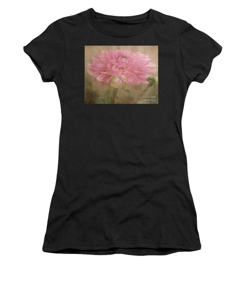 Soft Graceful Pink Painted Dahlia Women's T-Shirt (Athletic Fit)
