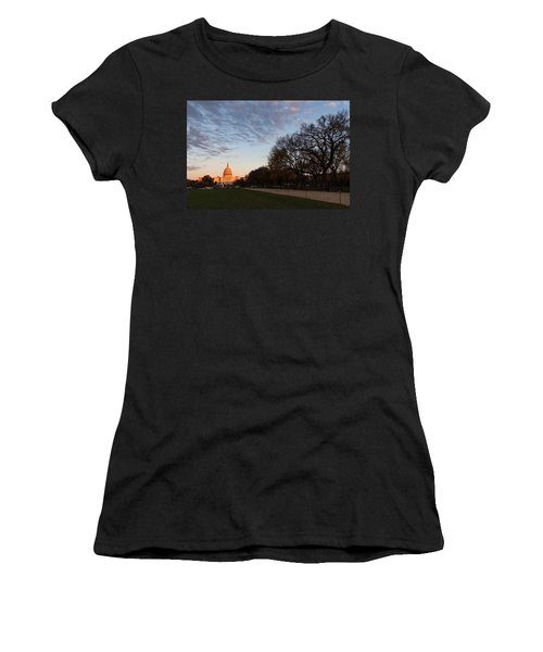 Soft Orange Glow - U S Capitol And The National Mall At Sunset Women's T-Shirt
