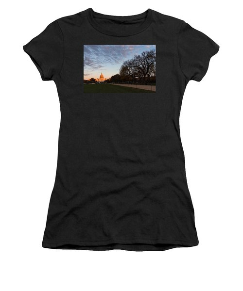 Soft Orange Glow - U S Capitol And The National Mall At Sunset Women's T-Shirt (Athletic Fit)