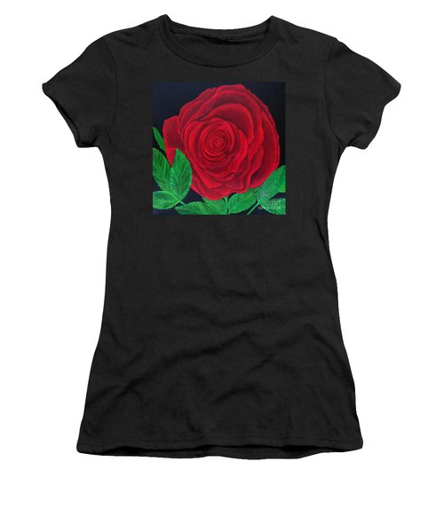 Solitary Red Rose Women's T-Shirt (Athletic Fit)