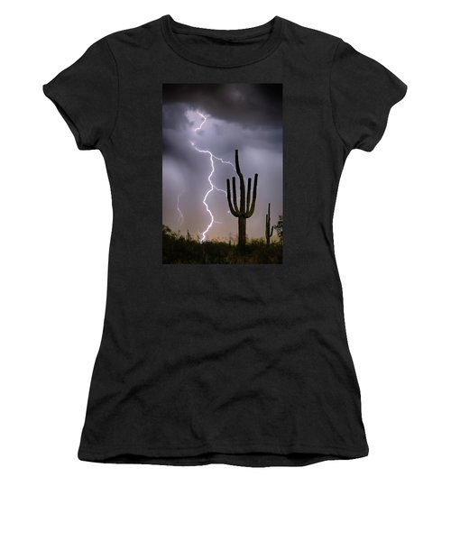 Women's T-Shirt (Junior Cut) featuring the photograph Sonoran Desert Monsoon Storming by James BO Insogna