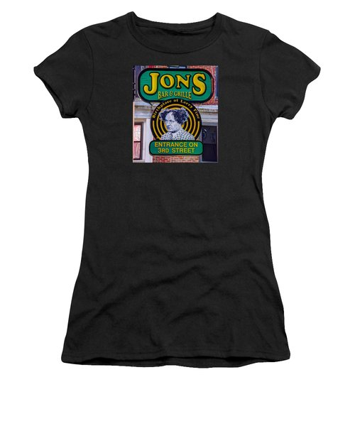 South Philly Skyline - Birthplace Of Larry Fine Near Jon's Bar And Grille-a - Third And South Street Women's T-Shirt (Junior Cut) by Michael Mazaika