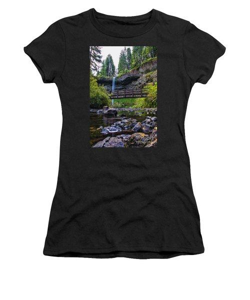 South Silver Falls With Bridge Women's T-Shirt (Junior Cut) by Darcy Michaelchuk