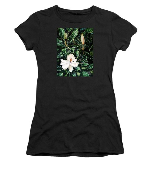 Southern Magnolia Bud And Bloom Women's T-Shirt (Athletic Fit)