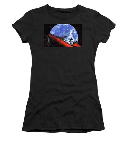 Space Meeting At Tesla Women's T-Shirt (Athletic Fit)