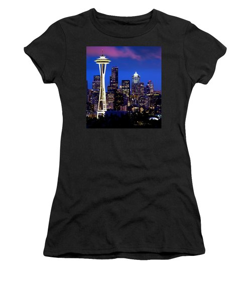 Space Needle At Night  Women's T-Shirt (Athletic Fit)