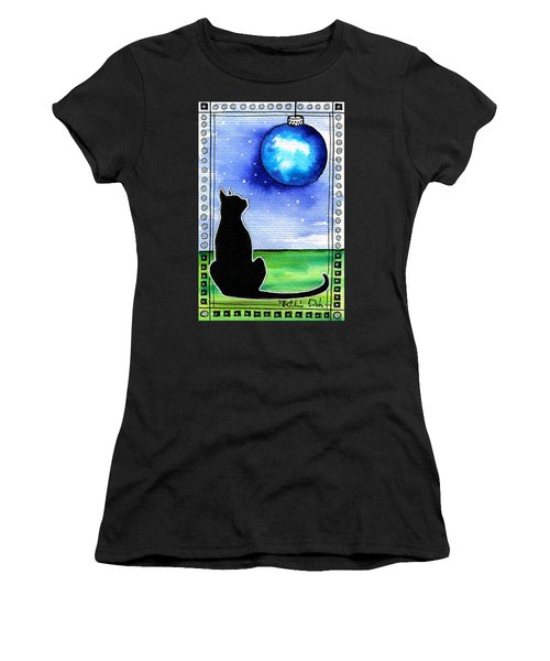Sparkling Blue Bauble - Christmas Cat Women's T-Shirt (Athletic Fit)