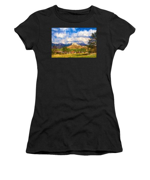 Castle Above The Village Women's T-Shirt (Athletic Fit)