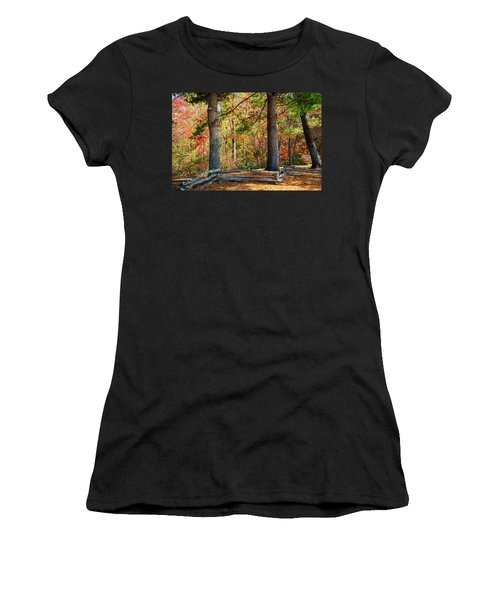 Split Rail Fence And Autumn Leaves Women's T-Shirt (Athletic Fit)