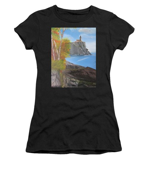 Split Rock Lighthouse Minnesota Women's T-Shirt (Athletic Fit)