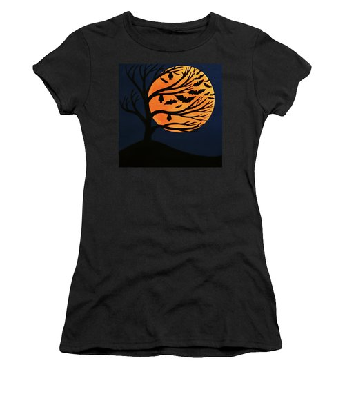 Spooky Bat Tree Women's T-Shirt (Athletic Fit)