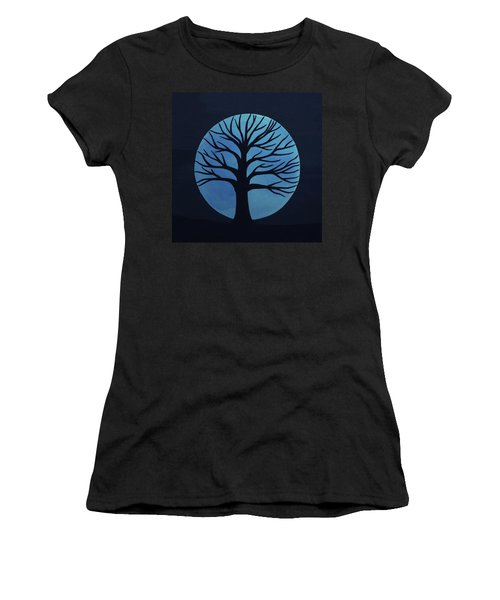 Spooky Tree Blue Women's T-Shirt (Athletic Fit)