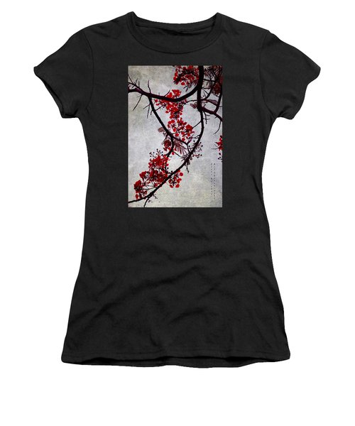 Spring Bloosom In Maldives. Flamboyant Tree II. Japanese Style Women's T-Shirt (Athletic Fit)