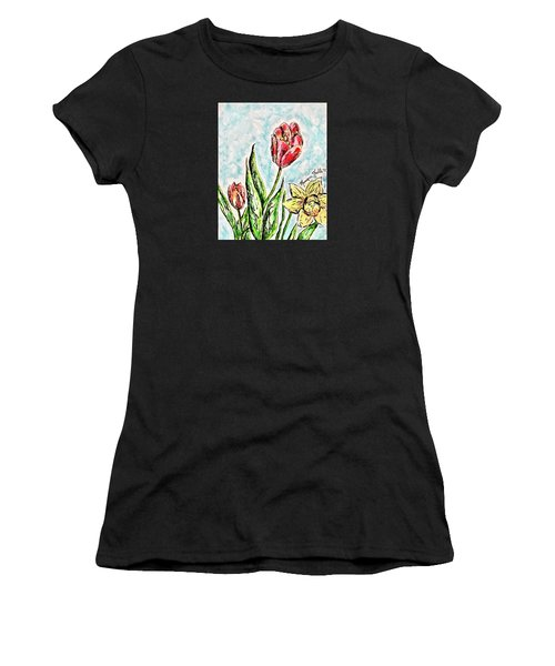 Women's T-Shirt featuring the painting Spring Flowers by Monique Faella