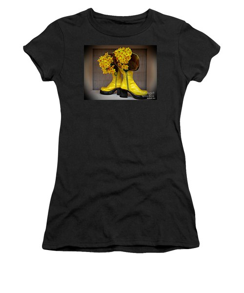 Spring In Yellow Boots Women's T-Shirt (Junior Cut) by AmaS Art