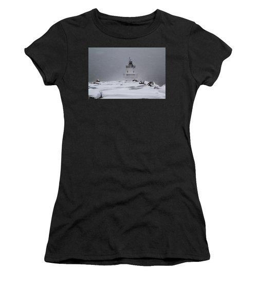 Spring Point Ledge Lighthouse Blizzard Women's T-Shirt