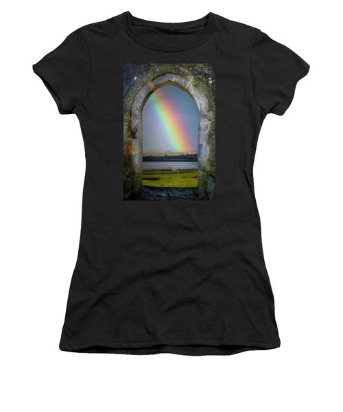 Women's T-Shirt (Athletic Fit) featuring the photograph Spring Rainbow Over Ireland's Shannon Estuary by James Truett