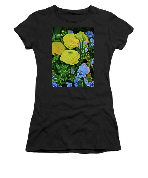 Spring Show 18 Persian Buttercup With Horned Viola Women's T-Shirt (Athletic Fit)