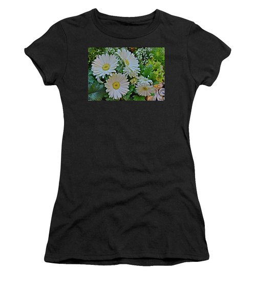 Women's T-Shirt (Athletic Fit) featuring the photograph Spring Show 18 White Gerbera Daisies by Janis Nussbaum Senungetuk